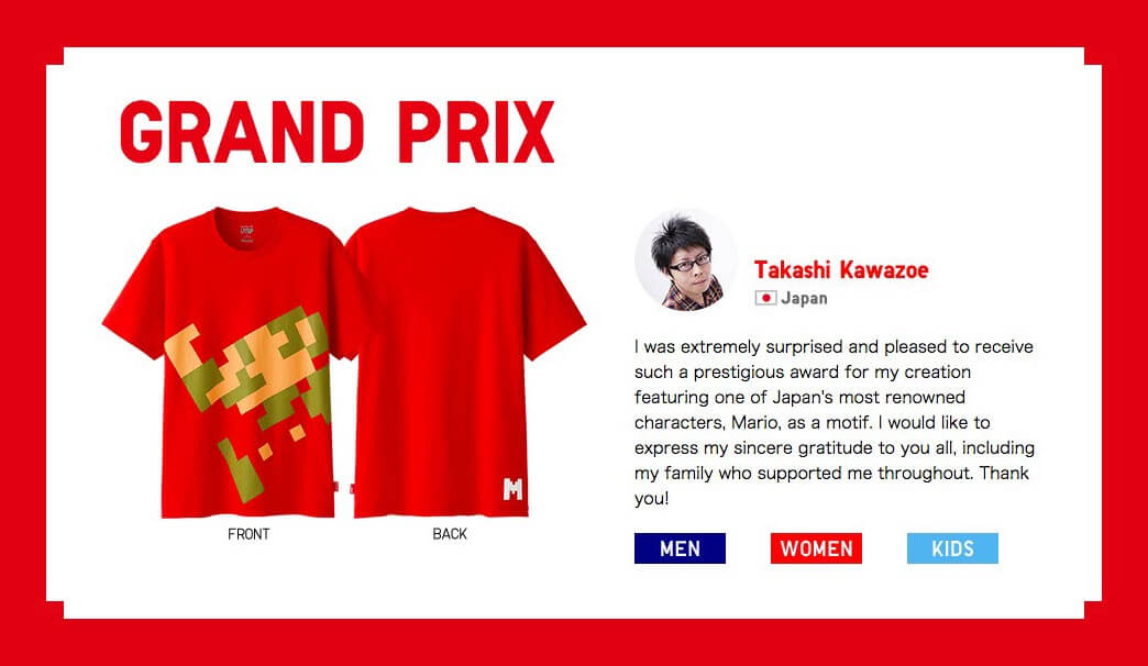 Takashi Kawazoe Ganador concurso de playeras Nintendo