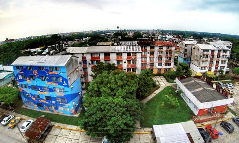 Complejo habitacional de Colonia Gaviotas donde se implementa Ciudad de Colores