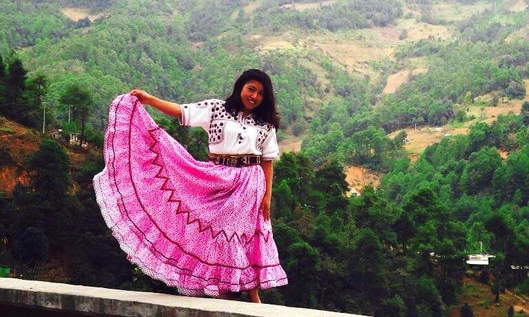 María Reyna González López en su pueblo natal