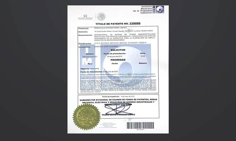 Patente de nanobiomolécula mexicana Nbelyax