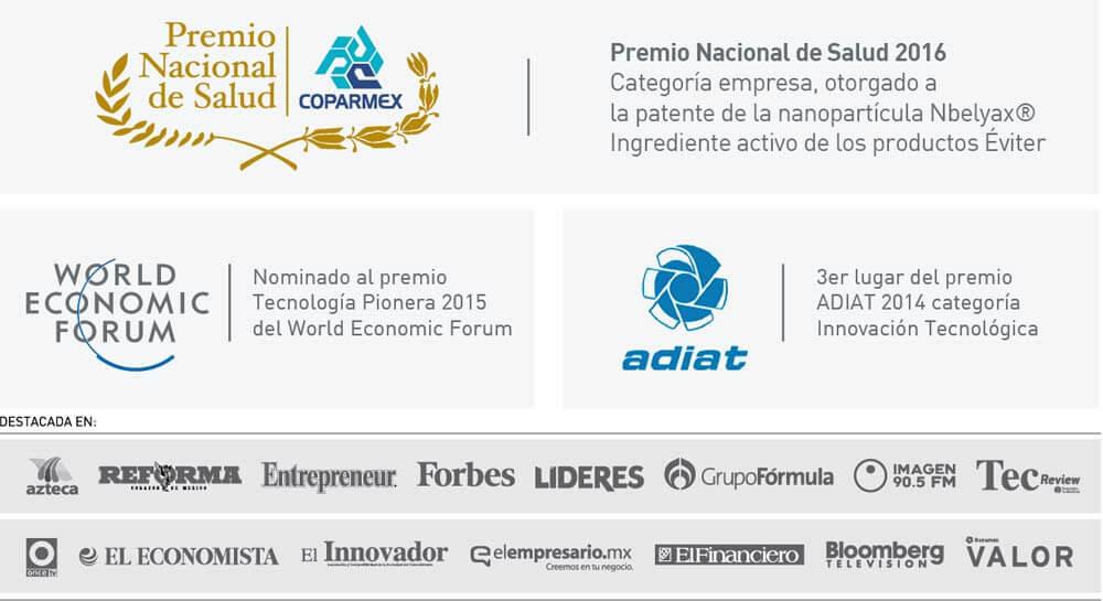 Reconocimientos y premios acumulados por Gresmex gracias a su nanobiomolécula en productor Éviter