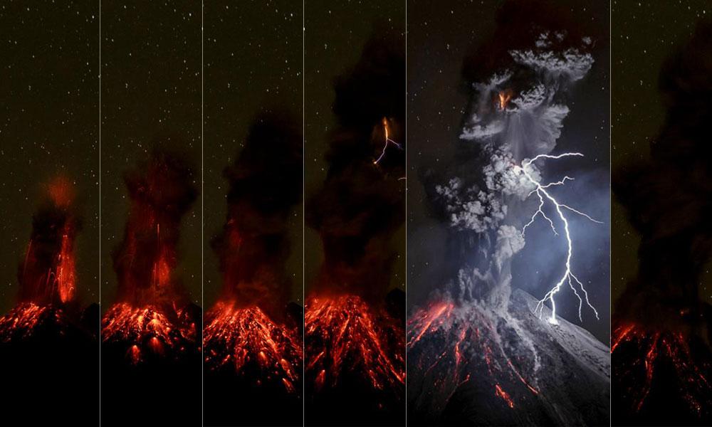 Secuencia fotográfica de Volcán de Colima por Sergio Tapiro