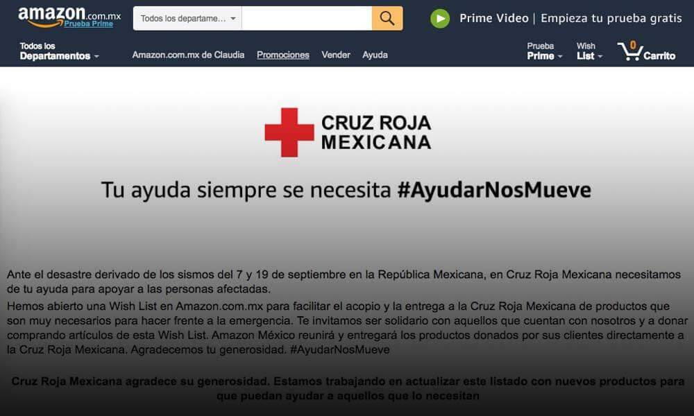 Donativos vía Amazon para ayudar a afectados del sismo en México