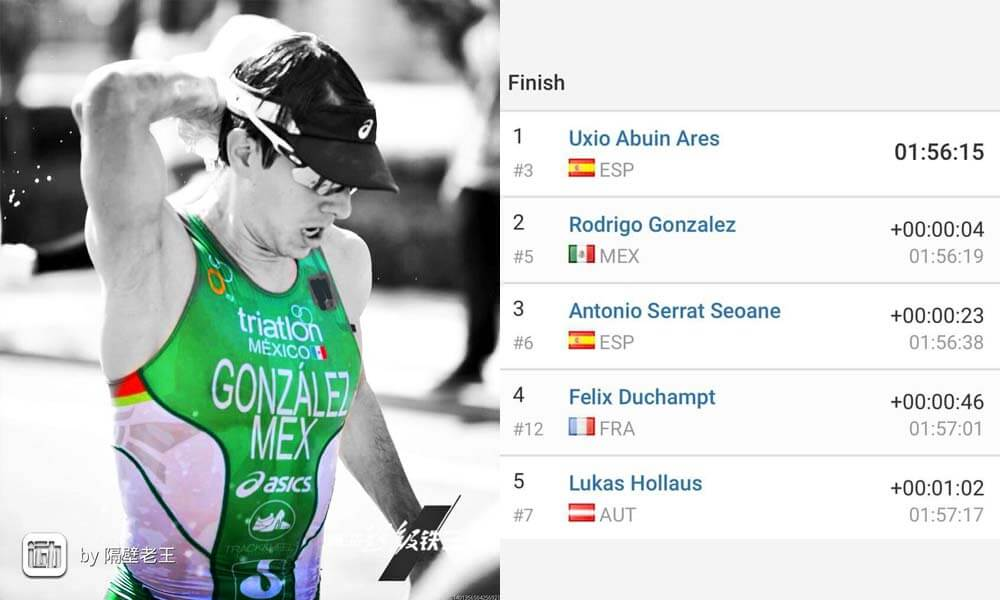 Tiempo logrado por Rodrigo González en la Copa Mundial de Triatlón 2017