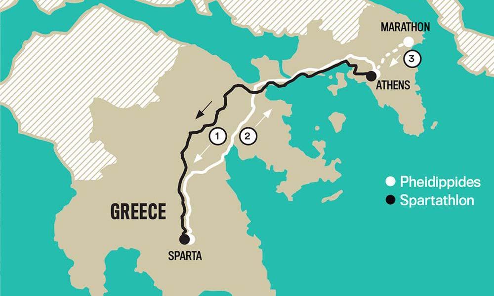 Mapa del recorrido efectuado en el Espartatlón