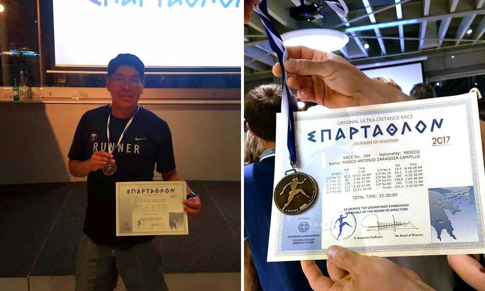 Medalla y reconocimiento de Marco Antonio Zaragoza Campillo en Espartatlón 2017