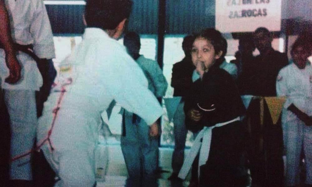 Roberto Carlos Reyes en combate de Karate Do