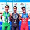 Mexicano Gana Plata Durante Copa Mundial de Triatlón en Weihai, China: Rodrigo González, Uxio Abuin y Antonio Serrat