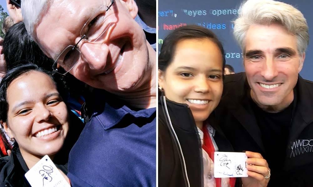 Alejandrina González con Tim Cook y Craig Federighi