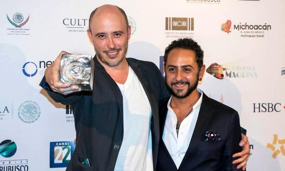 Director Marcelo Tobar y el actor Humberto Busto durante Festival Internacional de Cine en Morelia