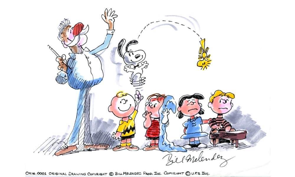 Dibujo original de Bill Melendez, Peanuts