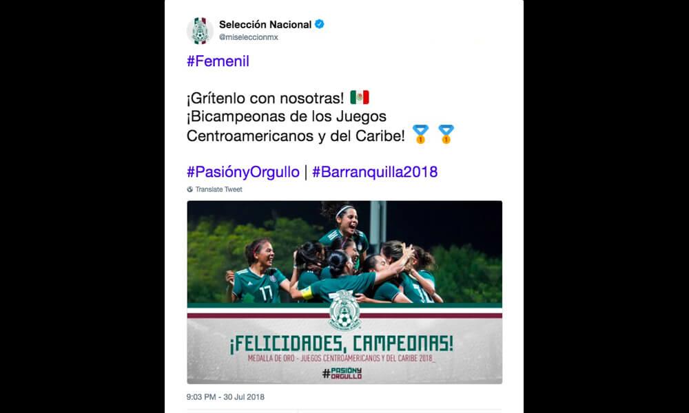 Felicitaciones para el Tri Femenil por Mi Selección